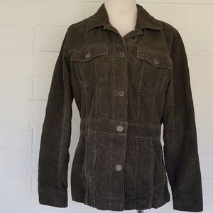 Eddie Bauer Green Cotton Corduroy Blazer Jacket